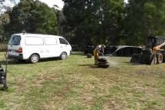 Craig cleaning tyre with compressor in shot