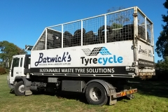 Tyrecyle: Barwicks truck collecting Piper Brook tyres